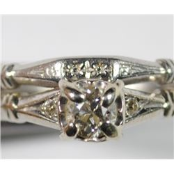 DIAMOND WEDDING RING - 14k with .25 Carat ROUND DIAMOND & PLATINUM BAND ANTIQUE