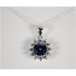 FABULOUS STERLING SILVER PENDANT w/ ROUND LAB TANZANITE GEMSTONE