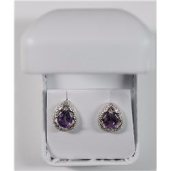 FANTASTIC STERLING SILVER VINTAGE STYLE EARRING SET, OVER 1 1/2 CARATS AMETHYST