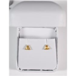 FABULOUS STUD EARRINGS with GENUINE 5mm TRILLION CUT CITRINE GEMSTONES