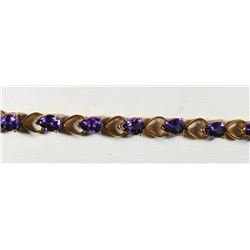 14K Yellow Gold Amethyst Tennis Bracelet 7 Inches