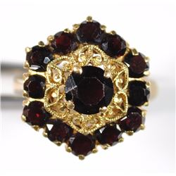 GARNET RING - OCTAGON SHAPE - 18k ITALY - TOLIRO inside band