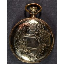 CIRCA 1900 ELGIN LADIES GOLD HUNTING CASE PENDANT WATCH - RUNS
