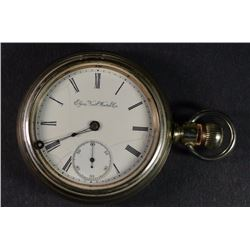 CIRCA 1900 ELGIN SILVER OPEN FACE POCKET WATCH - NOT RUNNING - NEEDS WORK