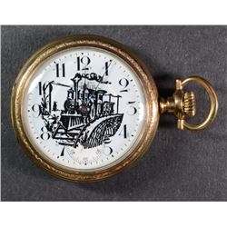 NEW ERA OPEN FACE POCKET WATCH - TRAIN SCENE FACE - RUNS