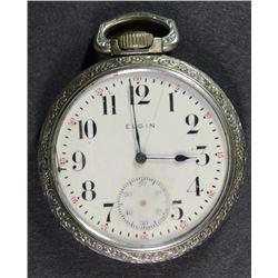 SILVER ELGIN OPEN FACE POCKET WATCH - NOT RUNNING