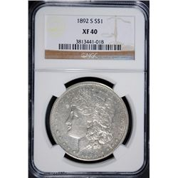 1892-S MORGAN SILVER DOLLAR, NGC XF-40  SEMI-KEY!