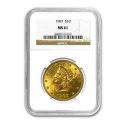 1907 $10 Liberty Gold Eagle NGC MS61