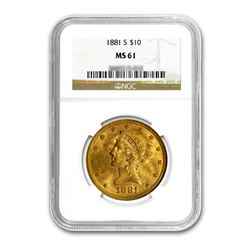 1881-S $10 Liberty Gold Eagle NGC MS61