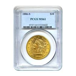 1886-S $10 Liberty Gold Eagle PCGS MS61