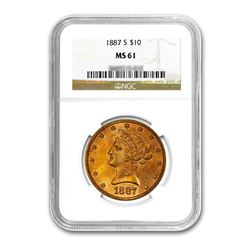 1887-S $10 Liberty Gold Eagle NGC MS61