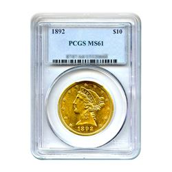 1892 $10 Liberty Gold Eagle PCGS MS61