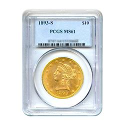 1893-S $10 Liberty Gold Eagle PCGS MS61
