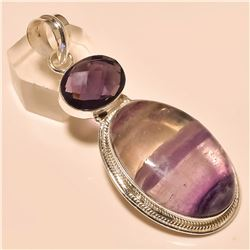 Flourite/Amethyst Pendant Solid Sterling Silver