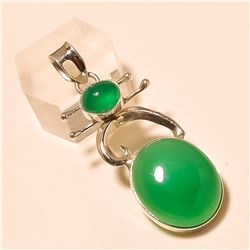 green onyx Pendant Solid Sterling Silver