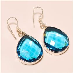 blue topaz Earring Solid Sterling Silver