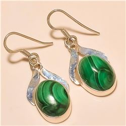 Malachite Earring Solid Sterling Silver
