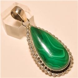 Malachite Pendant Solid Sterling Silver