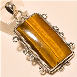 Tiger Eye Pendant Solid Sterling Silver