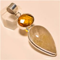 Golden Rutile /Citrine Pendant Solid Sterling Silver