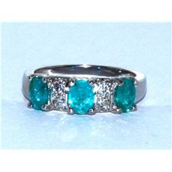 Paraiba Tourmaline  1.14 ctw Diamond Ring 14KW