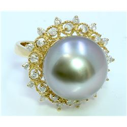 Diamond 0.75 ct Ring, Pearl Approx.14.5mm, 9.07gr 14K Yellow Gold