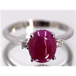 Cabochon Ruby  2.91 ctw Diamond Ring 14KW