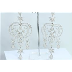 Hand Made  Chandelier Earring 14K WHITE GOLD EARRING  41.43GRAM