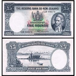 New Zealand, The Reserve Bank, Five Pounds (1967) 11B 996674 (P.160d)