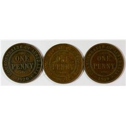 Australia, Penny, George V, 1919 and 1920 Double Dots