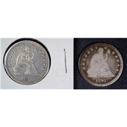 1877 XF & 1891 G SEATED LIBERTY