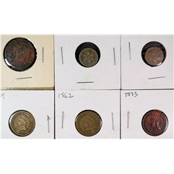 COLLECTORS LOT OF TYPE COINS 1859, 62, 83 INDIAN CENTS, 1868 2 CENT, 1851,