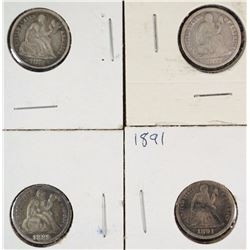 4 SEATED LIBERTY DIMES MOSTLY FINE 1871, 77,89,91