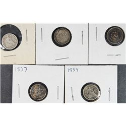 5 SEATED LIBERTY HALF DIMES 1837, 53,57,59,61