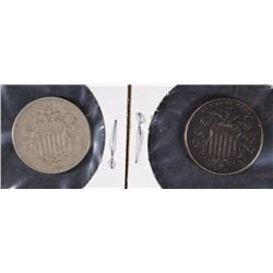 2 SHIELD NICKELS 1866 VG, 1876 VF