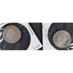 2-1883 LIBERTY NICKELS WITH  CENT