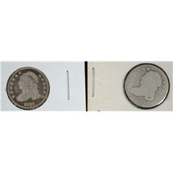 2 BUST DIMES 1827 AG, 1831 VG SCRATCHED