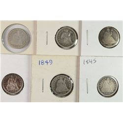 6 SEATED LIBERTY DIMES 1837, 45, 49, 2-54, 56