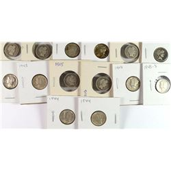DIME COLLECTORS LOT 6 BARBER 1903, 11-S, 12, 13, 15,16,  8 MERCURY DIMES, 45-S,