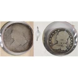 2 BUST QUARTERS 1825 AG DAMAGED & 1833 AG DAMAGED