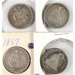 4 SEATED LIBERTY QUARTERS 54 VG DAMAGE REV. 57 FINE, 61 VF,73 GOOD