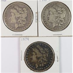 3 CIRCULATED MORGAN DOLLARS 1879, 1882, 1888-O
