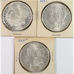 3 AU MORGAN DOLLARS 1887, 1880-O, 1880-S