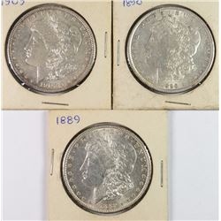 3 AU MORGAN DOLLARS 1889, 1890, 1903