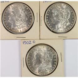 3 BU MORGAN DOLLARS 1898, 1900-O, 1902-O