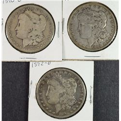 3 CIRCULATED MORGAN DOLLARS 1890, 1890-O, 1892-O