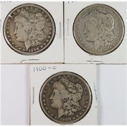 3 CIRCULATED MORGAN DOLLARS 2-1896-O, 1900-O