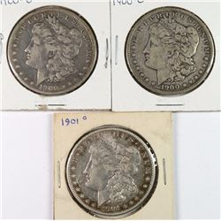3 CIRCULATED MORGAN DOLLARS 2-1900-O, 1901-O