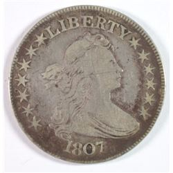 1807 DRAPED BUST HALF DOLLAR VF, STRONG DETAILS, THERE ARE SOME SCRATCHES