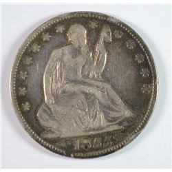1855-O SEATED HALF DOLLAR XF WITH A MARK ON